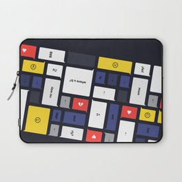 LOL, Mondrian – White / Blue / Yellow / Red Abstract Print Laptop Sleeve