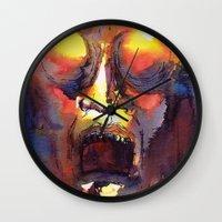 fear Wall Clocks featuring Fear  by Stevyn Llewellyn