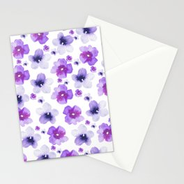 Modern purple lavender watercolor floral pattern Stationery Cards