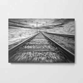 railway in movement Metal Print