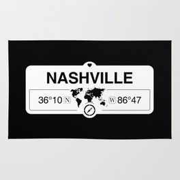 Nashville Tennessee Map GPS Coordinates Artwork with Compass Rug