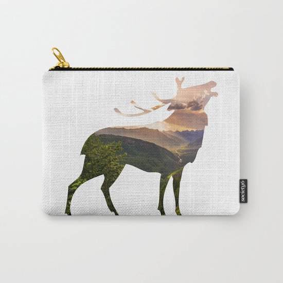 Elk Silhouette with Wilderness Inlay Carry-All Pouch