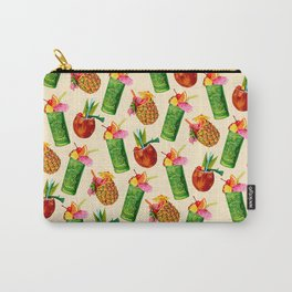 Tiki Cocktail Pattern - Cream Carry-All Pouch