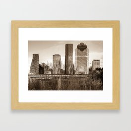 Sepia Houston Texas City Skyline Through Barren Trees Framed Art Print