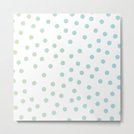 Simply Dots in Turquoise Green Blue Gradient on White Metal Print