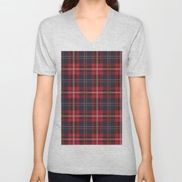 Red tartan plaid pattern Unisex V-Neck