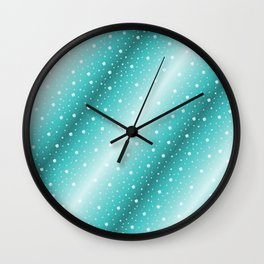 white shamrocks in mint color Wall Clock