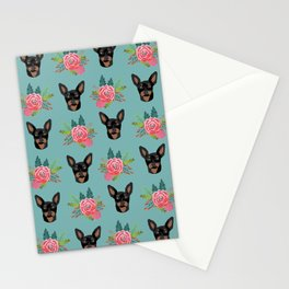 Min Pin miniature doberman pinscher dog breed dog faces cute floral dog pattern Stationery Cards