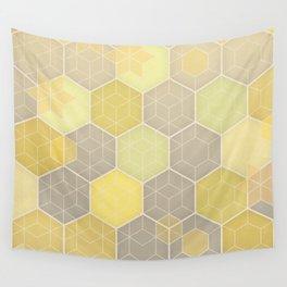 Lemon & Grey Honeycomb Wall Tapestry