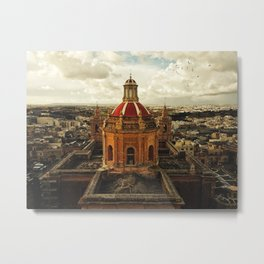 A drone shot of a Roman Catholic Church in Malta Metal Print