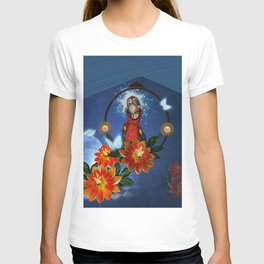 Funny cute parrot with flowers T-shirt