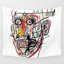 Basquiat Crazy Head Wall Tapestry