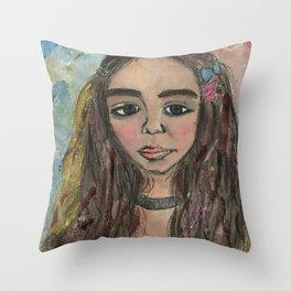 Abstract NAil Polish Painting of Rowan Blanchard Throw Pillow