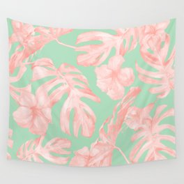 Tropical Palm Leaves Hibiscus Pink Mint Green Wall Tapestry