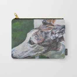 Greyhound dog art portrait from an original painting by L.A.Shepard Carry-All Pouch