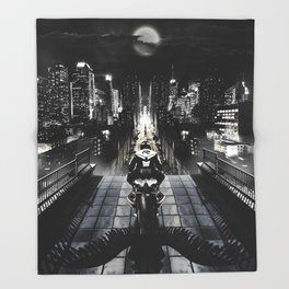 Poster with a biker on a motorcycle in the form of an angel looking into the distance of the urban v Throw Blanket