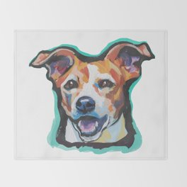 Fun Jack Russell Terrier Portrait bright colorful Dog  Pop Art by LEA Throw Blanket