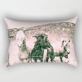 Southwest Horses Black and White Rectangular Pillow
