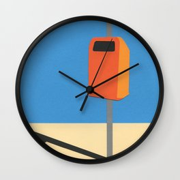 Orange Trash Can Wall Clock