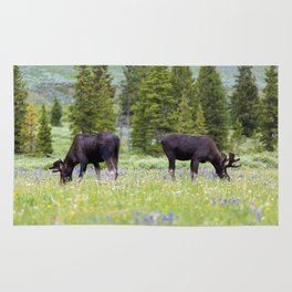 Two Moose Grazing Rug