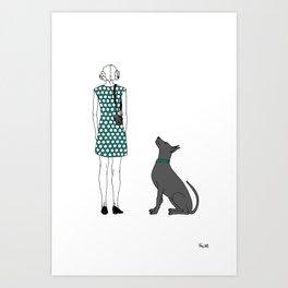 Photographer girl and dog Art Print