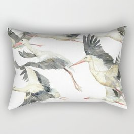 Storks Flying Away, The Last Day of Summer, Flock of Birds Rectangular Pillow