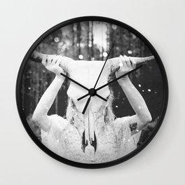Bull Skull Tribal Woman Vintage Wall Clock