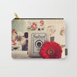 Retro Camera and Red Flower (Retro and Vintage Still Life Photography) Carry-All Pouch