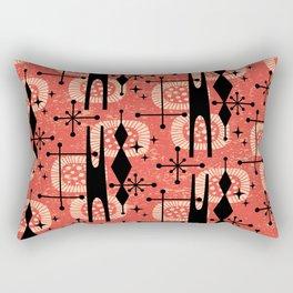 Retro Atomic Mid Century Pattern 771 Red Rectangular Pillow