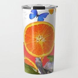 SURREAL GREEN FROGS BUTTERFLIES FRUIT & TURTLE Travel Mug