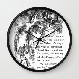 """Alice meets Cheshire cat in """"Alice's Adventures in Wonderland"""" Wall Clock"""
