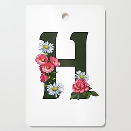 Letter H, Initial H, Monogram, Floral Decorated Letter Cutting Board