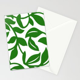 PALM LEAF VINE SWIRL IN GREEN AND WHITE Stationery Cards