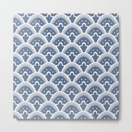 Fan Pattern 331 Monaco Blue Metal Print