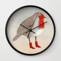 robin Wall Clocks featuring Robin by Hana Stupica