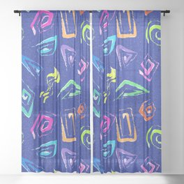 Surf Spiral Shapes in Neon Periwinkle Sheer Curtain