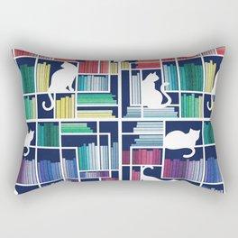 Rainbow bookshelf // navy blue background white shelf and library cats Rectangular Pillow