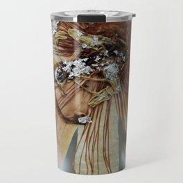 Vintage Vanilla Passion Flower Detail Travel Mug