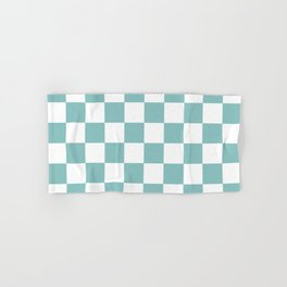 Chalky Blue Checkers Pattern Hand & Bath Towel