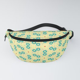 Scattered Teal Yellow Pattern Fanny Pack