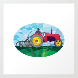 Farmer Driving Vintage Farm Tractor Oval Low Polygon Art Print