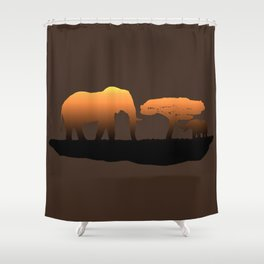 Elephant Sunset Shower Curtain