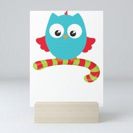 Christmas Owl Candy Cane Mini Art Print