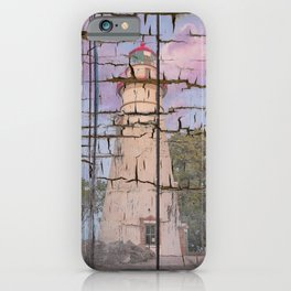 Faux Wood Texture Marblehead Lighthouse at Sunset Coastal Landscape Photo iPhone Case