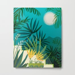 Rainforest With Moonlight / Tropical Night Series #3 Metal Print
