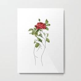 Flower in the Hand Metal Print