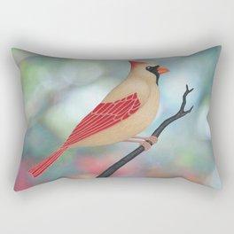 female Northern cardinal bokeh background Rectangular Pillow