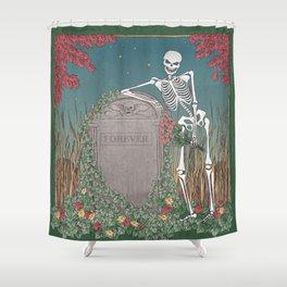 Skeleton Leaning on Grave Shower Curtain