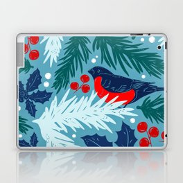 Christmas Tree With Bird and Holly Pattern Laptop & iPad Skin
