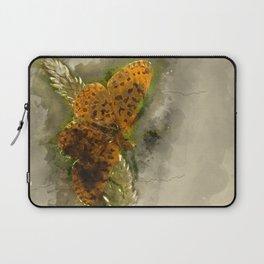 """Orange butterfly """"Boloria selene"""" - watercolor Laptop Sleeve"""